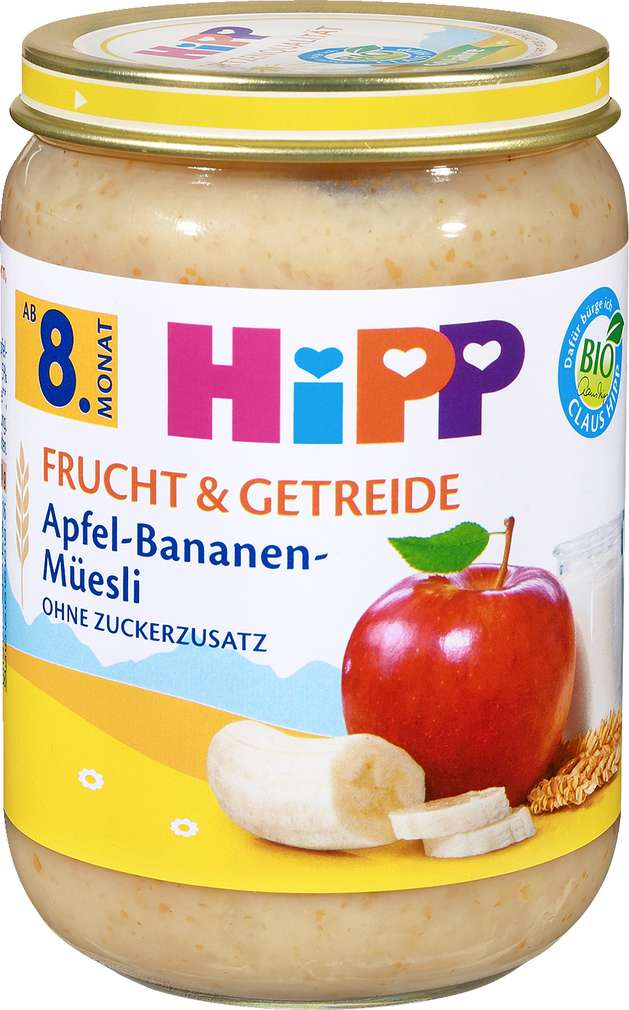 Abbildung des Sortimentsartikels Hipp Frucht & Getreide Apfel-Bananen-Muesli 190g