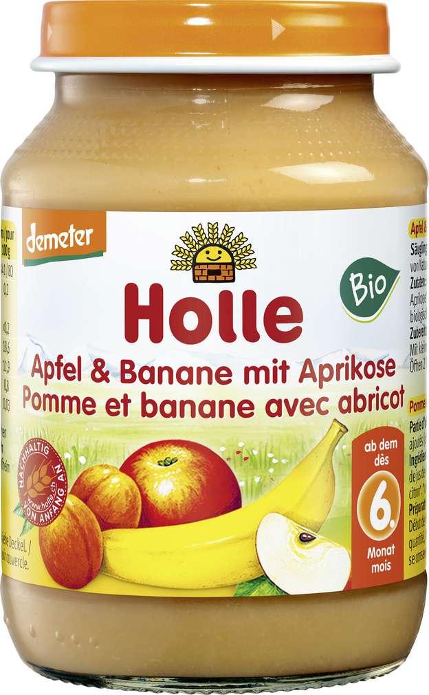 Abbildung des Sortimentsartikels Holle Demeter Apfel Banane Aprikose ab dem 6. Monat 190g