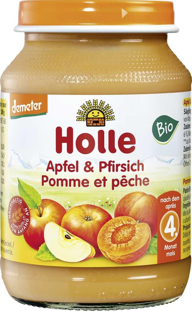 Abbildung des Sortimentsartikels Holle Demeter Apfel / Pfirsich nach dem 4. Monat 190g