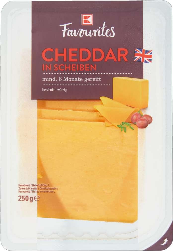 Abbildung des Sortimentsartikels K-Favourites Cheddar rot in Scheiben 6M 250g