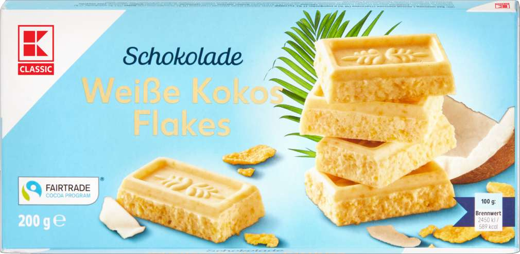 Abbildung des Sortimentsartikels K-Classic Schokolade Weiße Kokos Flakes 200g
