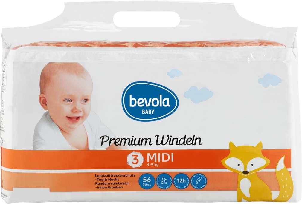Abbildung des Sortimentsartikels Bevola Baby Windeln Midi 56 Stück