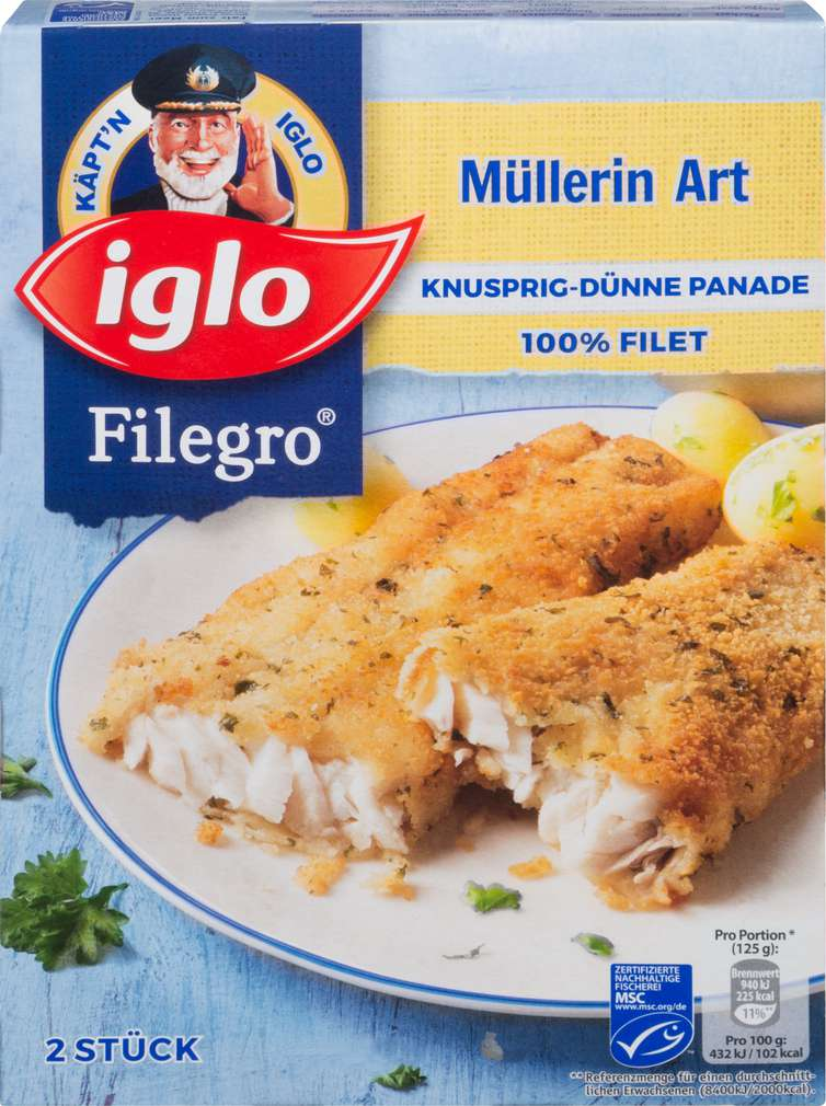 Abbildung des Sortimentsartikels Iglo Filegro Müllerin Art 250g, 2 Stück