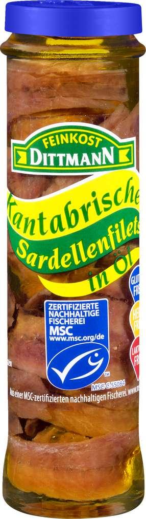 Abbildung des Sortimentsartikels Feinkost Dittmann Sardellenfilets in Olivenöl 55g