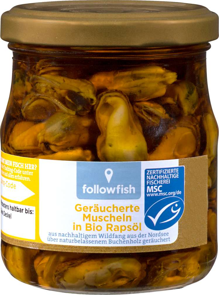 Abbildung des Sortimentsartikels followfish Geräucherte Muscheln in Bio Rapsöl 200g