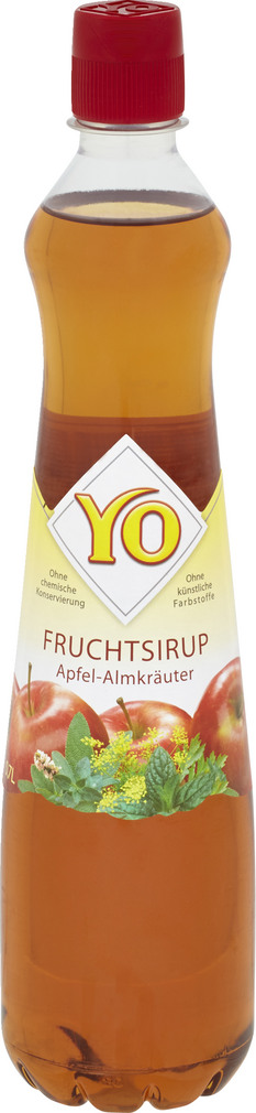 Abbildung des Sortimentsartikels Yo Fruchtsirup Apfel-Almkräuter 0,7l