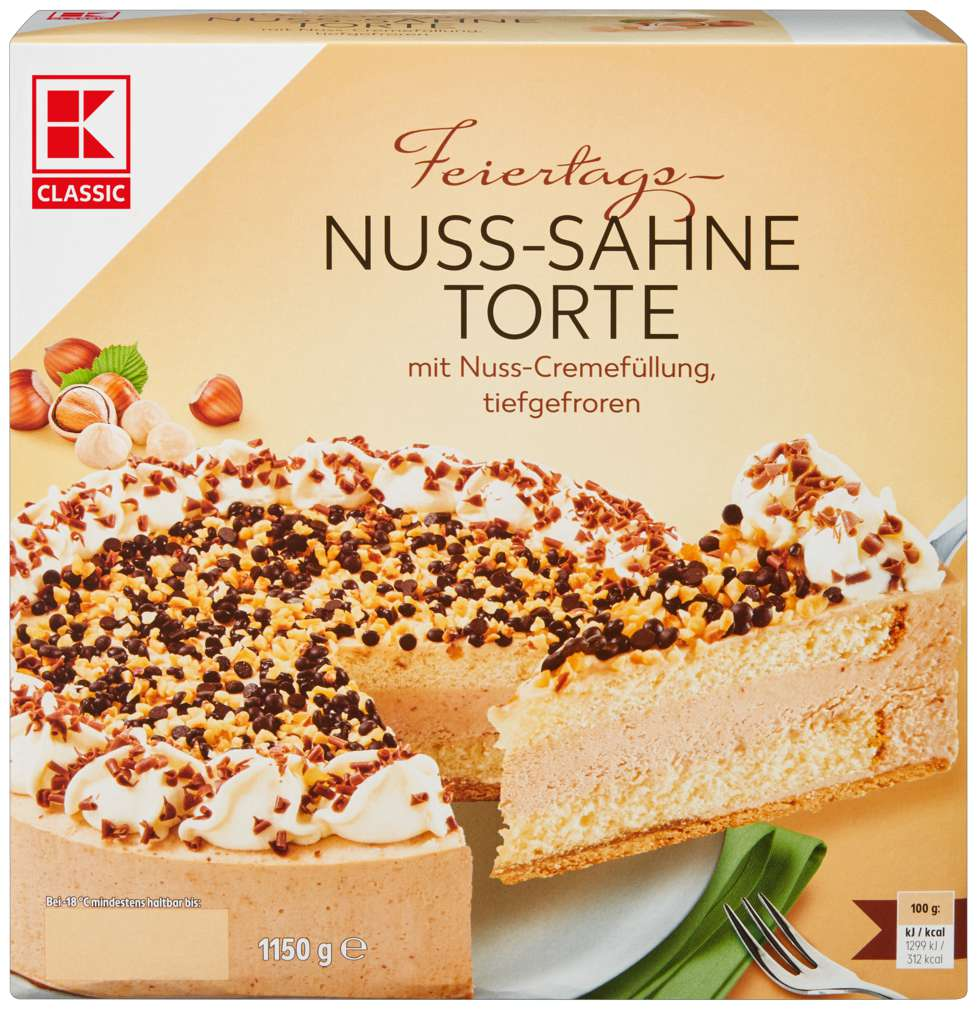 Abbildung des Sortimentsartikels K-Classic Nuss-Sahne-Torte 1200g