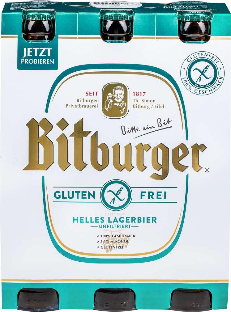 Abbildung des Sortimentsartikels Bitburger Helles Lagerbier Glutenfrei 6x0,33l