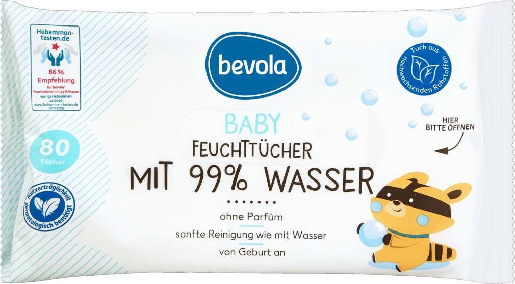Abbildung des Sortimentsartikels Bevola Baby Feuchttücher mit 99% Wasser 80 Stück