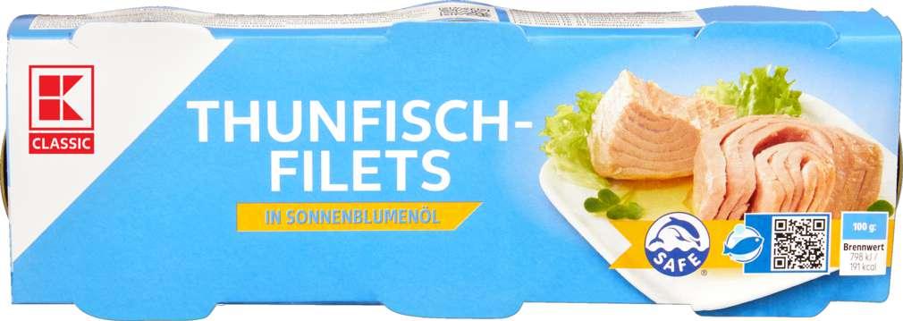Abbildung des Sortimentsartikels K-Classic Thunfisch 3x80g in Sonnenblumenöl 240g