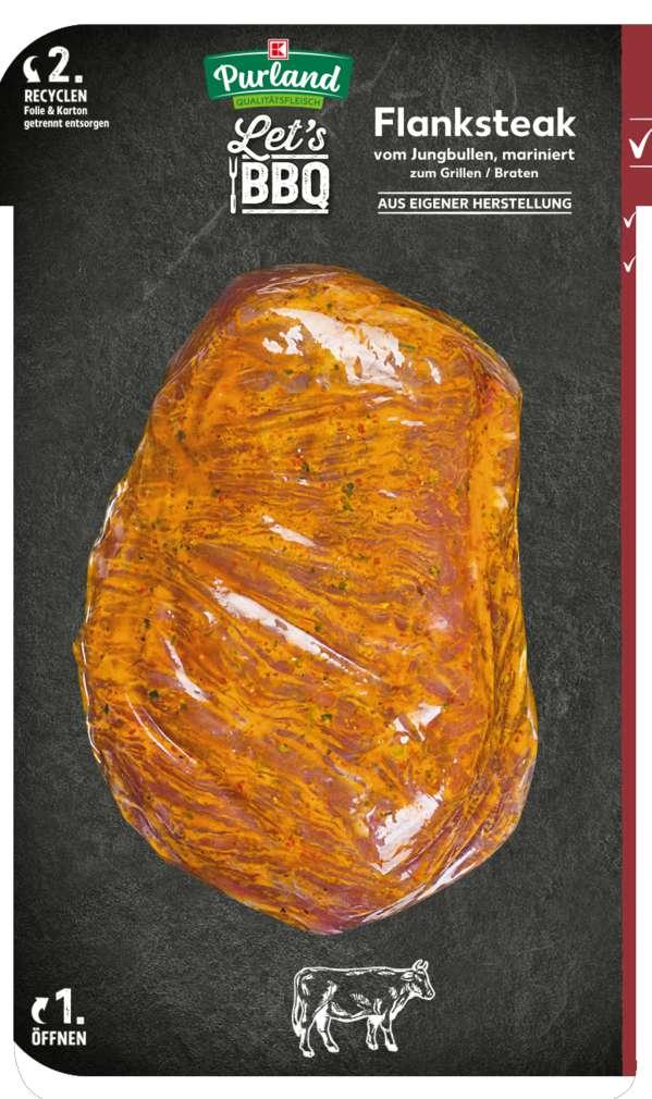 Abbildung des Sortimentsartikels K-Purland Flank Steak vom Jungbullen mariniert