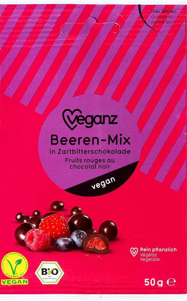 Abbildung des Sortimentsartikels Veganz Bio-Beeren-Mix Zartbittersch.,vegan 50g