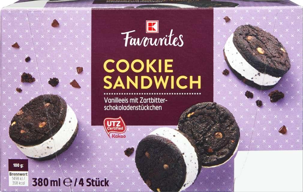 Abbildung des Sortimentsartikels K-Favourites American Ice Cookie Sandwich dunkel 4x95ml