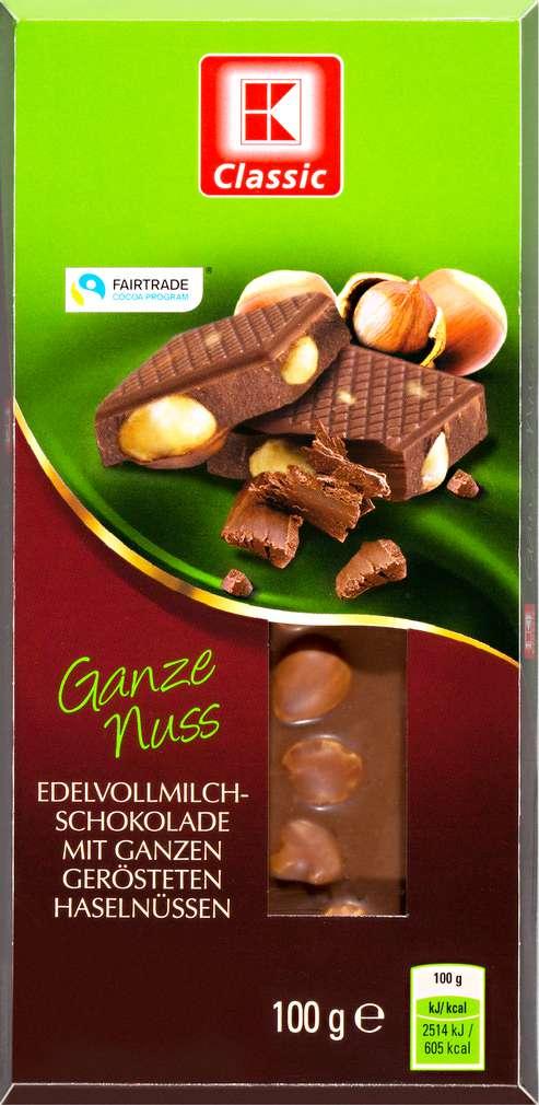 Abbildung des Sortimentsartikels K-Classic Vollmilchschokolade Ganze Nuss 100g