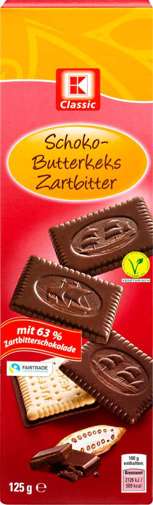 Abbildung des Sortimentsartikels K-Classic Schoko-Butterkeks Zartbitter 125g
