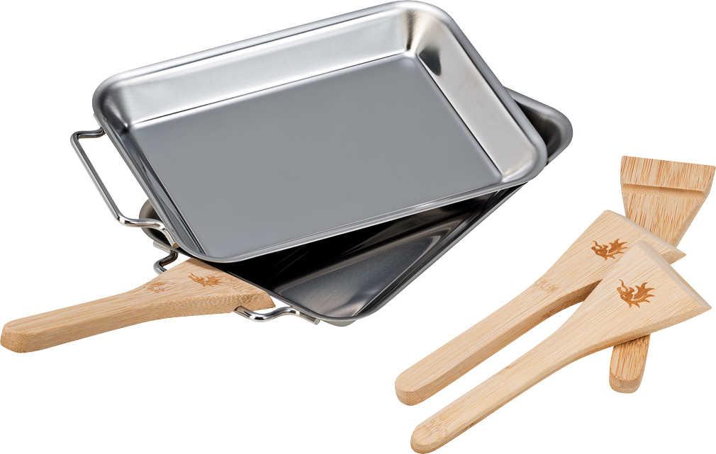 2er Grillpfännchen RACLETTE Grillpfannen mit abnehmbarem Griff und Spatel