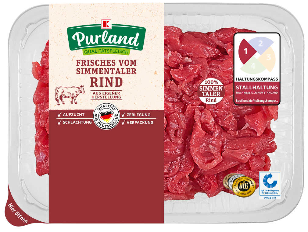 Abbildung des Angebots K-PURLAND Rindergeschnetzeltes natur vom Simmentaler Jungbullen