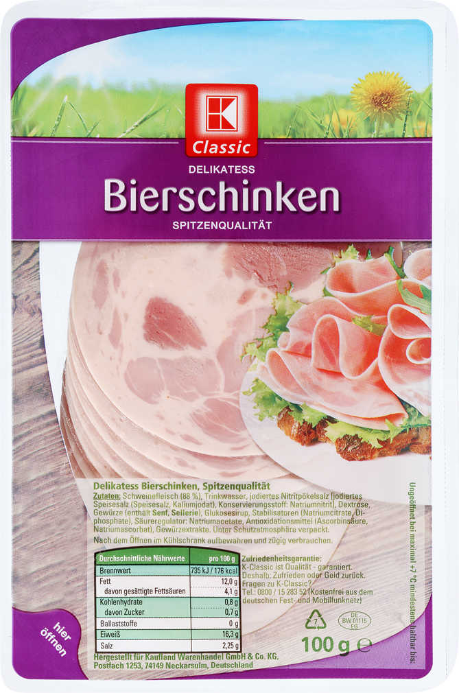 Abbildung des Angebots K-CLASSIC Bierschinken oder Paprika-Schinkenwurst