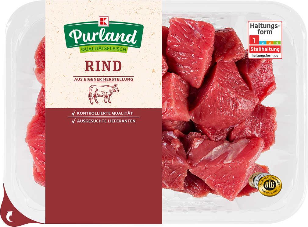 Abbildung des Angebots K-PURLAND Rindergulasch vom Simmentaler Jungbullen