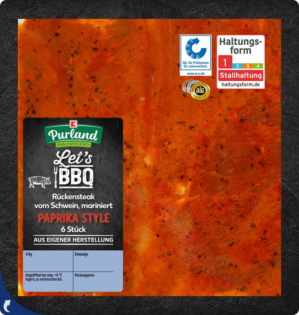 Abbildung des Angebots K-PURLAND Schweinerückensteak mariniert »Paprika Style«