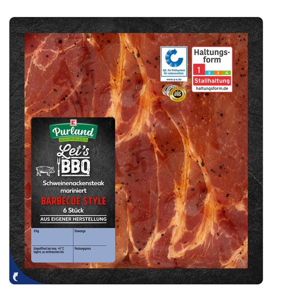 Abbildung des Angebots K-PURLAND Schweinenackensteak Barbecue Style, mariniert